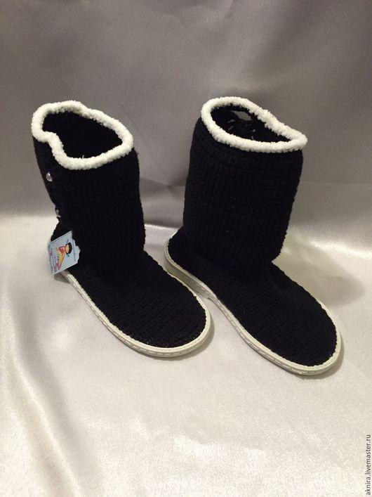 Детская обувь ручной работы. Ярмарка Мастеров - ручная работа. Купить сапоги вязанные крючком для девочки. Handmade. Черный