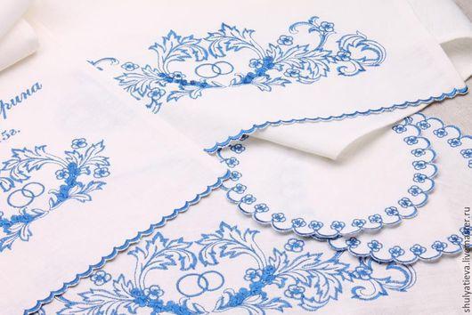 Свадебные аксессуары ручной работы. Ярмарка Мастеров - ручная работа. Купить Венчальный набор Таинство в синей гамме, 4 предмета. Handmade.