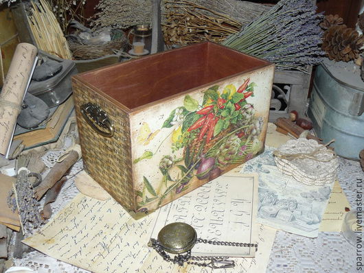 """Корзины, коробы ручной работы. Ярмарка Мастеров - ручная работа. Купить """"Урожай"""" - короб для кухни. Handmade. Ящик, сад"""