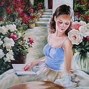 Картины и панно handmade. Livemaster - original item Oil painting a Girl with a book. Handmade.
