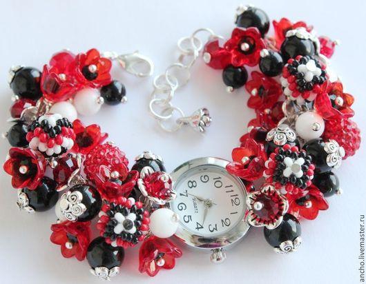 """Часы ручной работы. Ярмарка Мастеров - ручная работа. Купить Часы """"Красно-чёрные"""". Handmade. Ярко-красный, женские часы"""