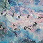 """Картины и панно ручной работы. Ярмарка Мастеров - ручная работа """"Над облаками"""" Картина на шелке. Handmade."""