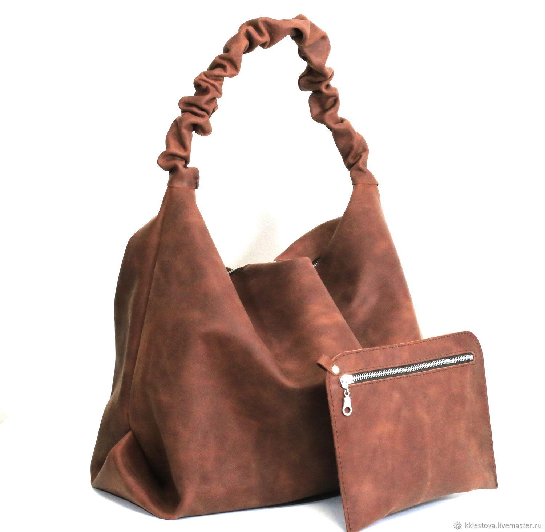 Handbags handmade. Livemaster - handmade. Buy Satchel hobo shopper Bag, crazy horse pocket and cosmetic bag.Bag