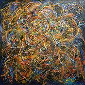 """Картины и панно ручной работы. Ярмарка Мастеров - ручная работа """"Таинственный цветок""""-абстрактная квадратная картина акрилом. Handmade."""