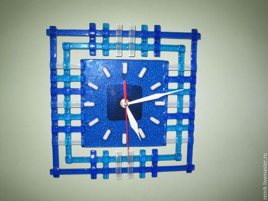 """Часы для дома ручной работы. Ярмарка Мастеров - ручная работа. Купить Часы из стекла """"Абстракция""""-1. Фьюзинг.. Handmade. Синий"""
