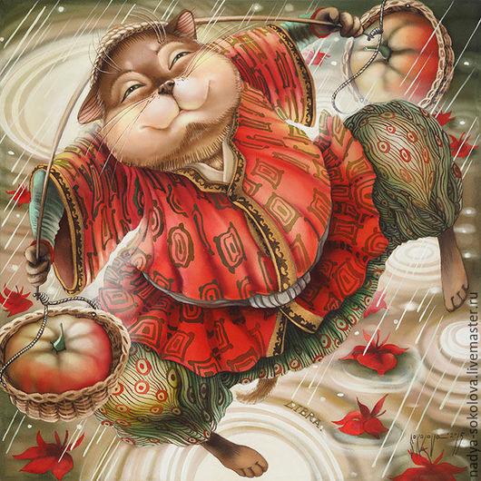 Фантазийные сюжеты ручной работы. Ярмарка Мастеров - ручная работа. Купить Весы. Handmade. Коралловый, кот, коромысло, корзины, тыквы