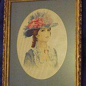 Картины и панно ручной работы. Ярмарка Мастеров - ручная работа Вышивка крестиком Девушка. Handmade.
