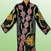 Одежда ручной работы. Ярмарка Мастеров - ручная работа Узбекский вышитый шелком национальный халат, чапан V1935. Handmade.
