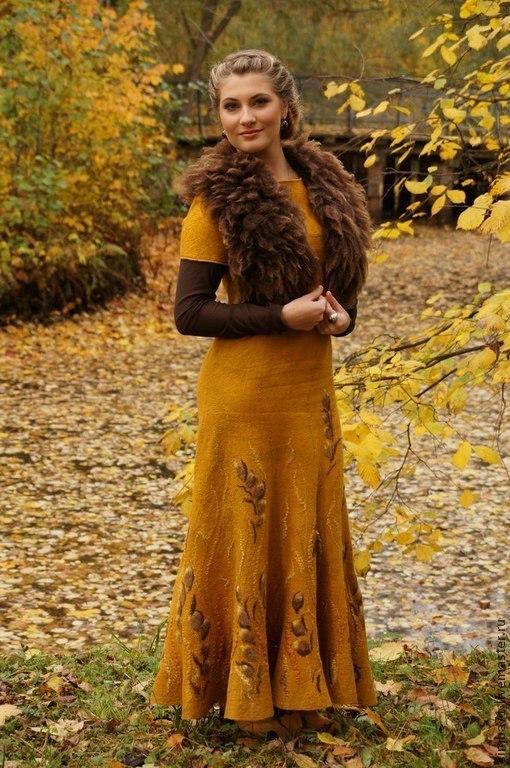 """Платья ручной работы. Ярмарка Мастеров - ручная работа. Купить Валяное платье """"Золото осени"""". Handmade. Желтый"""