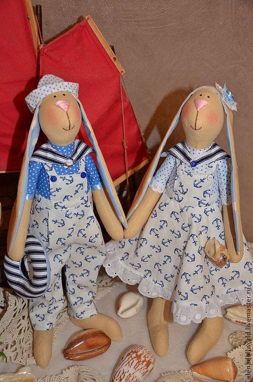 Куклы Тильды ручной работы. Ярмарка Мастеров - ручная работа. Купить Зайцы моряки. Handmade. Голубой, моряки, полоска, шитьё