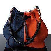 Сумки и аксессуары ручной работы. Ярмарка Мастеров - ручная работа Синяя замшевая сумка, сумка-мешок, оранжевая сумка, сумка. Handmade.
