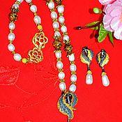 Украшения handmade. Livemaster - original item Necklace and earrings Golden angel Pearl Silver Gilding rhodium Plated. Handmade.