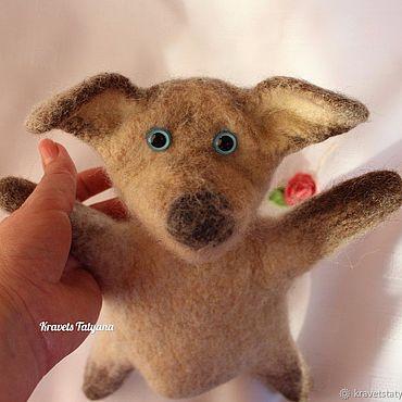 Куклы и игрушки ручной работы. Ярмарка Мастеров - ручная работа Войлочная игрушка, кукла перчатка Бибабо собачка. Handmade.