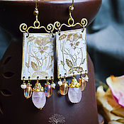 Украшения handmade. Livemaster - original item Brass boho earrings with rose quartz, delicate, white, flower pattern. Handmade.