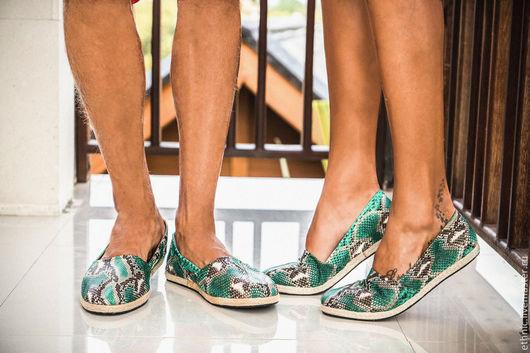 Обувь ручной работы. Ярмарка Мастеров - ручная работа. Купить Эспадрильи из натуральной кожи питона ( внутри - натуральная кожа ). Handmade.