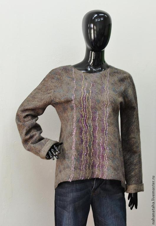 """Кофты и свитера ручной работы. Ярмарка Мастеров - ручная работа. Купить Валяный свитерок """"Твидовый"""". Handmade. Коричневый, подарок женщине"""