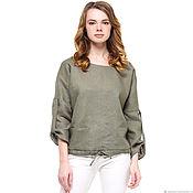Одежда handmade. Livemaster - original item Khaki linen blouse. Handmade.