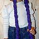 Шапки и шарфы ручной работы. сиреневая шапка с косами. Yulia Tikhonravova. Ярмарка Мастеров. Детская