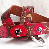 Аксессуары handmade. Livemaster - original item POPPIES(different)strap leather. Handmade.