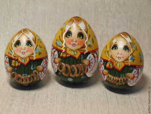 """Матрешки ручной работы. Ярмарка Мастеров - ручная работа. Купить Яйцо-матрешка """"Бараночки"""". Handmade. Зеленый, Авторская матрешка, подарок"""