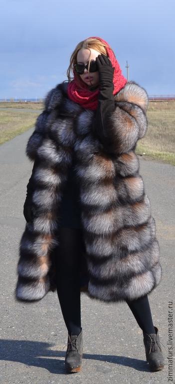 Верхняя одежда ручной работы. Ярмарка Мастеров - ручная работа. Купить Шуба из меха черно-бурой лисы.(Цвет crystal). Поперечная.. Handmade.