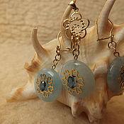 Украшения handmade. Livemaster - original item Blue quartz in gold with Kashmiri sapphires. Handmade.