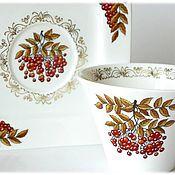 """Посуда ручной работы. Ярмарка Мастеров - ручная работа Чайная пара """"Рябинка"""" (фарфор, посуда, чашка, блюдце). Handmade."""