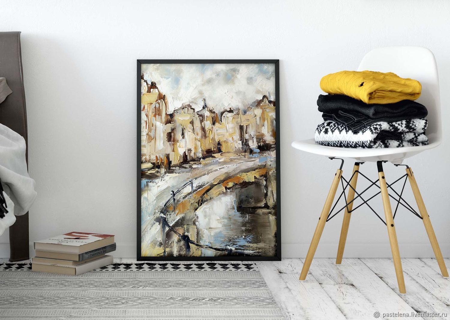 Oil painting on canvas Amsterdam (abstraction beige white ), Pictures, Yuzhno-Uralsk,  Фото №1
