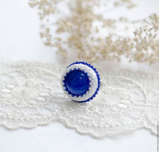 Кольца ручной работы. Ярмарка Мастеров - ручная работа. Купить Кольцо Синий агат. Handmade. Синий, кольцо, кольцо с агатом