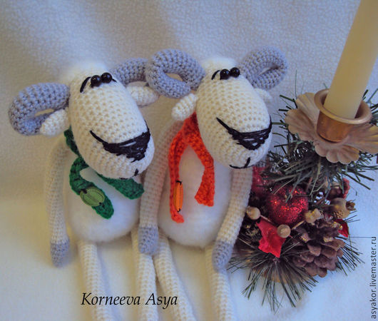 Игрушки животные, ручной работы. Ярмарка Мастеров - ручная работа. Купить Две барашки. Handmade. Символы 2015 овца и коза