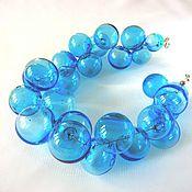 Украшения handmade. Livemaster - original item Necklace made from hand-blown beads aquamarine color . Lampwork. Handmade.