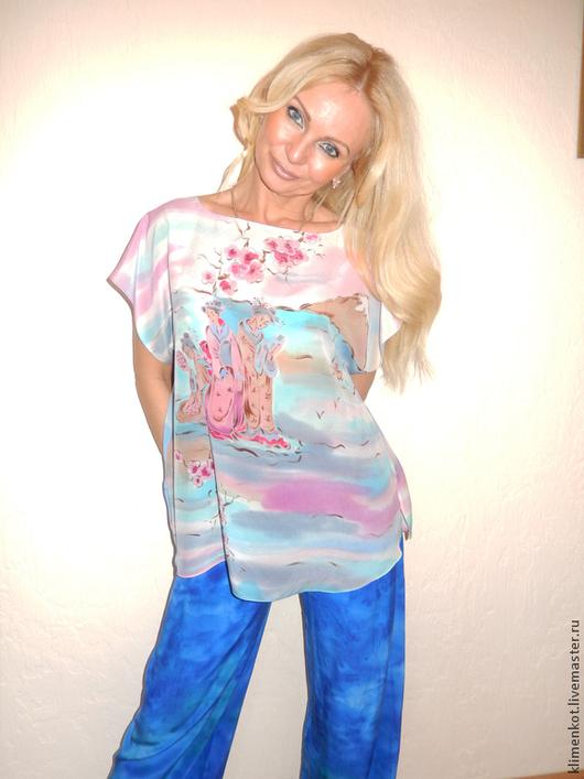 Блузки ручной работы. Ярмарка Мастеров - ручная работа. Купить Блуза- Сакура. Handmade. Бирюзовый, блуза, нежная, подарок