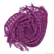 Аксессуары handmade. Livemaster - original item A scarf a stole woven by using hemstitch. purple. cotton. Handmade.
