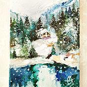Картины и панно handmade. Livemaster - original item Place, cozy snow, oil painting. Handmade.
