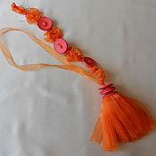 Фурнитура ручной работы. Ярмарка Мастеров - ручная работа Кисть-подхват для штор Оранж. Handmade.