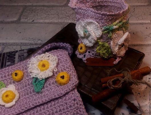 Женские сумки ручной работы. Ярмарка Мастеров - ручная работа. Купить Комплект Сиреневый  туман. Вязаный крючком. Handmade. Сиреневый