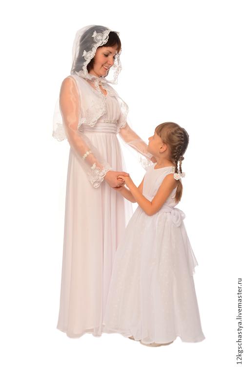 Платья ручной работы. Ярмарка Мастеров - ручная работа. Купить Платья для мамы и дочки Невеста, комплект. Handmade. Кремовый