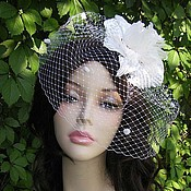 Свадебный салон handmade. Livemaster - original item Wedding veil with fancy flower. Handmade.