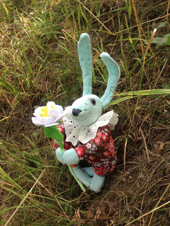 Заяц с цветком, Мягкие игрушки, Москва,  Фото №1