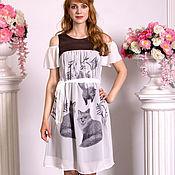 Одежда handmade. Livemaster - original item Fox cotton dress. White summer puffy dress with cambric.. Handmade.