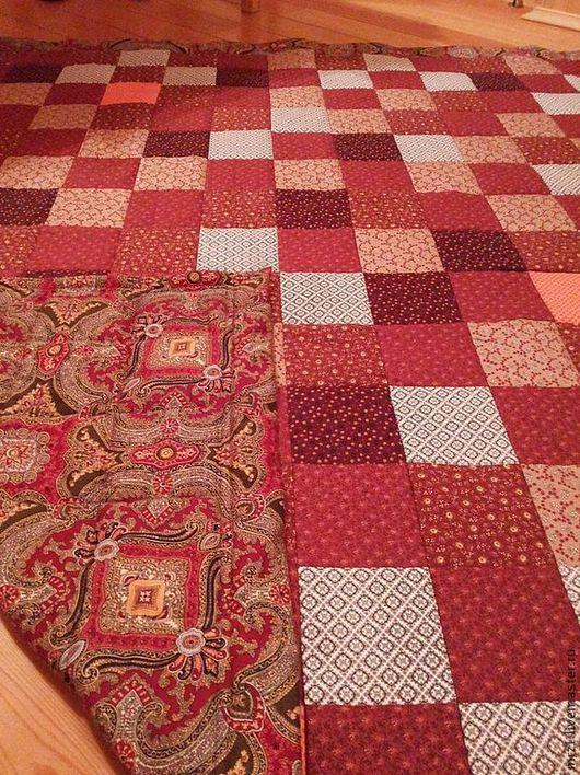 Текстиль, ковры ручной работы. Ярмарка Мастеров - ручная работа. Купить Одеяло в стиле Пэчворк. Handmade. Коричневый, покрывало, яркий