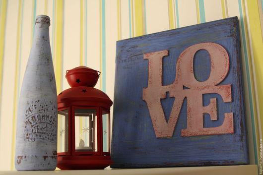 Интерьерные слова ручной работы. Ярмарка Мастеров - ручная работа. Купить Панно Love. Handmade. Сиреневый, панно в подарок, лофт