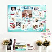 Дизайн и реклама ручной работы. Ярмарка Мастеров - ручная работа Постер-коллаж на 1 годик для вашего мальчика или девочки. Handmade.