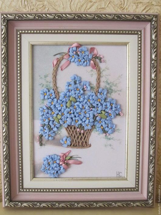 Картины цветов ручной работы. Ярмарка Мастеров - ручная работа. Купить Картина Незабудка, незабудка.... Handmade. Голубой, Вышитая картина