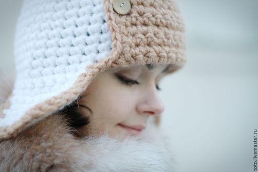 Шапки ручной работы. Ярмарка Мастеров - ручная работа. Купить Шапка ушанка Морозное настроение. Handmade. Белый, снежный, пушистый