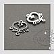 Для украшений ручной работы. Коннектор Сердечко большое серебро на 5 нитей.. GalA beads. Интернет-магазин Ярмарка Мастеров.