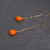Украшения handmade. Livemaster - original item Earrings with orange drops of Czech glass. Handmade.