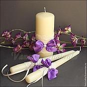 Свадебный салон ручной работы. Ярмарка Мастеров - ручная работа Свечи с кружевом и фиолетовыми бантами. Handmade.