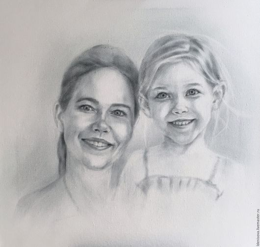 Люди, ручной работы. Ярмарка Мастеров - ручная работа. Купить Мама и доча. Handmade. Чёрно-белый, портрет, портрет по фото