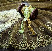 Материалы для творчества ручной работы. Ярмарка Мастеров - ручная работа Кружевной набор 381 вышивка на сетке шебби ленты. Handmade.